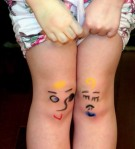knees with faces